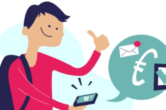 Helpper krijgt zijn betaling door op de smartphone